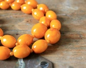 Vintage 60's Double Strand Honey Amber Colored Necklace