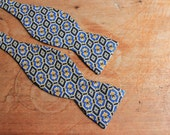 Royal Geometry - Vintage Blue and Gold Silk Bow Tie