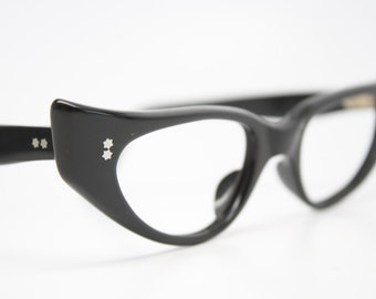 black cat eye glasses NOS vintage cat eye frames