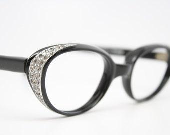 black cat eye glasses rhinestone vintage cateye frames