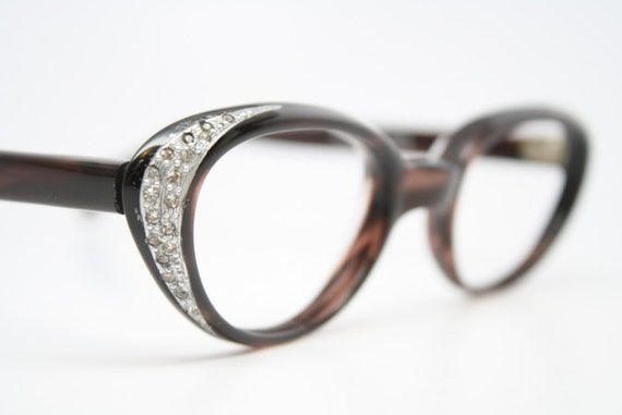 Brown cat eye glasses rhinestone vintage cateye frames