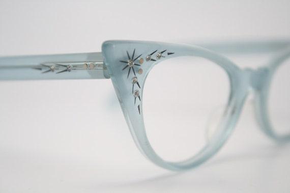 baby blue cat eye glasses vintage rhinestone cateye frames NOS
