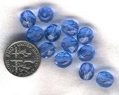 50 8mm Czech faceted Sapphire Blue Beads PIF