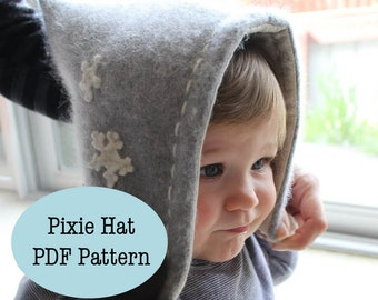 Pixie Style Baby Hat - PDF Pattern - Sizes Infant to age 10