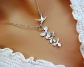 Silver Sparrow Triple Orchid Flower Cascade Necklace- romantic bridal bridesmaids jewelry gifts, available in gold.