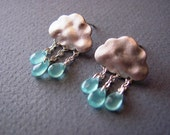 Silver Detailed Cloud Aqua Raindrops April Shower Whimsical Post Earrings