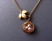 Personalized Gold Nestling Bird Nest Necklace- mom, birthday, anniversary, baby shower, customizable gifts, available in silver.