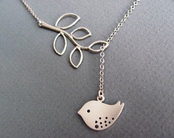 Spotted Sparrow Branch Lariat Necklace in Silver- spring to fall style, nature inspired, available in gold.
