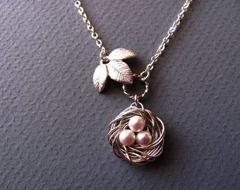 Personalized Nestling Bird Nest Necklace in Silver- mom, grandmother, birthday, anniversary, baby shower gifts, available in gold.