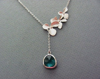 Silver Triple Orchids Emerald Lariat Necklace- May Birthstone, romantic bridesmaids jewelry, available in gold and other birthstone colors.