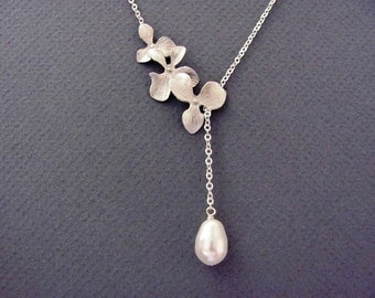 Elegant Triple Orchids Teardrop Pearl Lariat Necklace- bridal jewelry, bridesmaids gift, available in silver and gold.