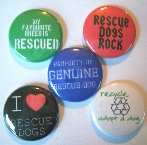 5 I Heart Rescue Dogs Buttons
