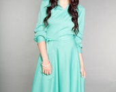 70s Vintage Medium/Large Handmade Mint Green Dress
