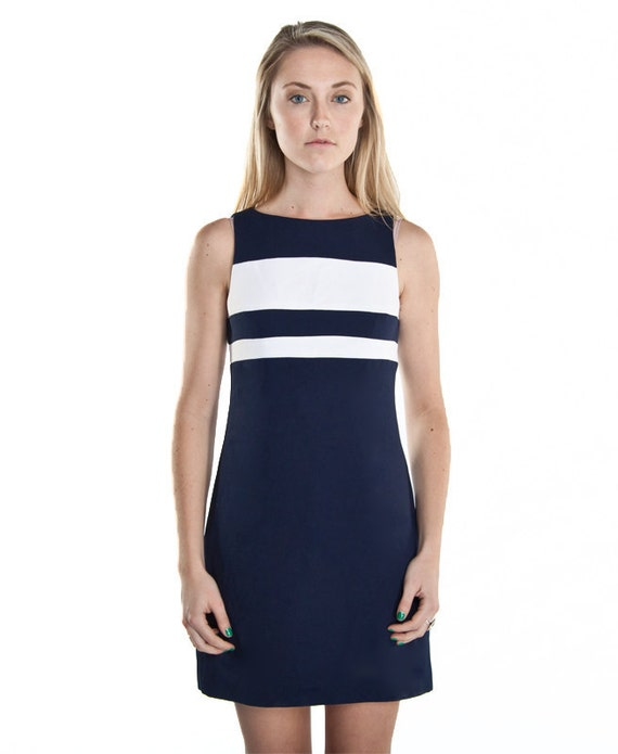 Small Vintage Navy Blue/White Sheath Dress by Datiani