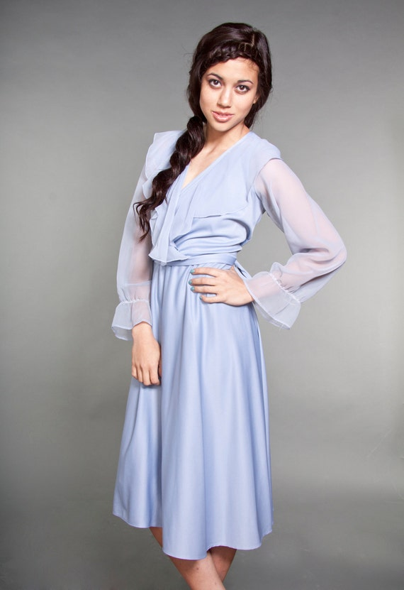 70s Vintage Large Periwinkle Blue Sheer Ruffle Dress