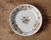 Small Antique Ironstone Dessert Plate with Brown Floral Transferware