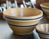 Large Antique Yellow Ware Bowl with Blue and White Bands - Size 9
