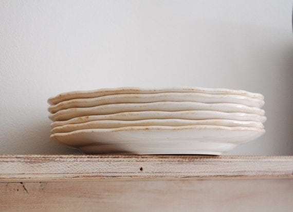 RESERVED - 6 White Ironstone Plates with scalloped edge