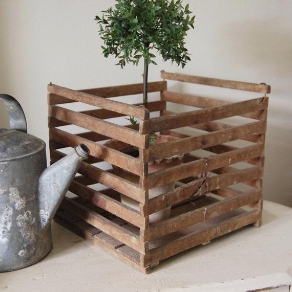 Rustic Antique Wood Egg Crate