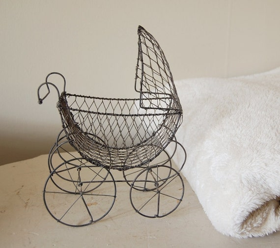 Small Vintage Wire Baby Carriage