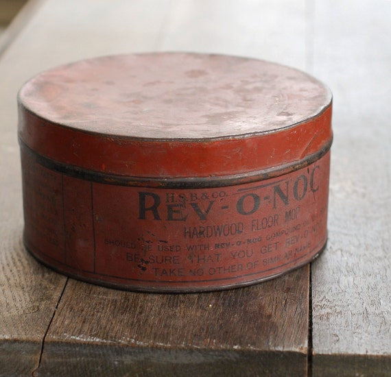 SALE Rustic Round Red Tin Box from REV-O-NOC