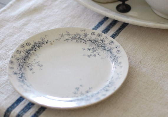 Antique Ironstone Plate With Blue Gray Floral Transferware