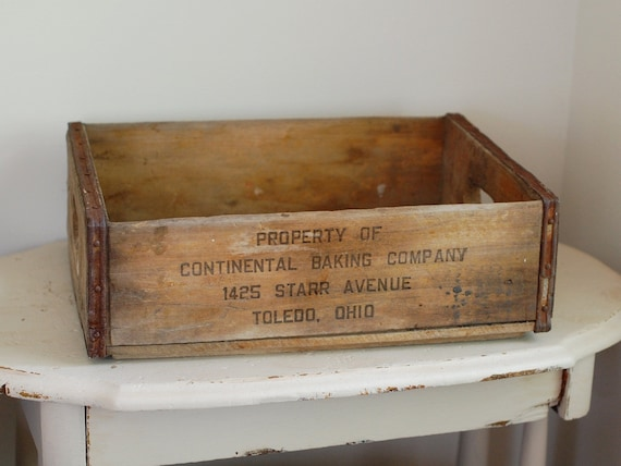 Vintage Rustic Wood Crate - Continental Baking Company, Toledo, Ohio
