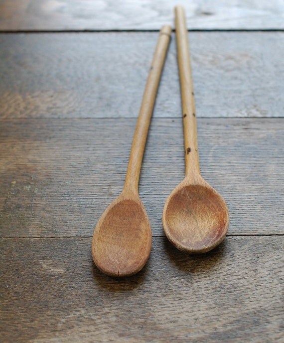 Pair of Primitive Wooden Spoons