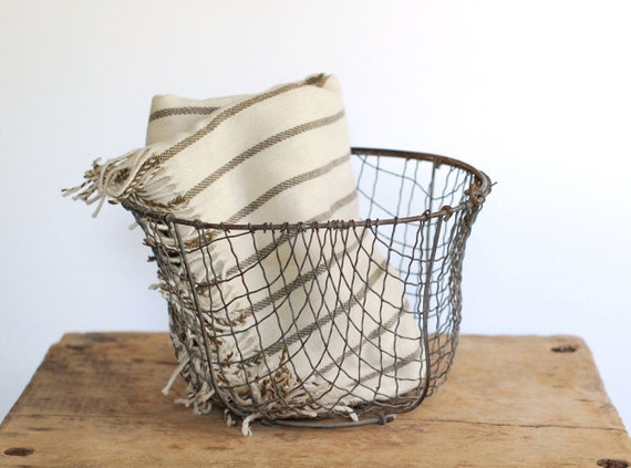 Antique Wire Egg Basket - Primitive Crinkled Wire