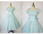 1950's Flocked Chiffon Robin's Egg Blue Prom Wedding Party Dress XS S