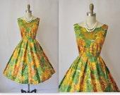 1950's Vibrant Abstract Print Cotton Garden Party Mad Men Summer Sun Dress S