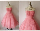 Sale 1950's Ruched Tulle Strapless Coral Shelf Bust Wedding Party Prom Dress XS