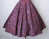 50's Circle Skirt // Vintage 1950's Flocked PurpleTaffeta Circle Skirt XS