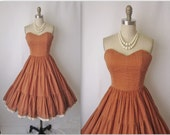 Reserved 50's Strapless Dress // Vintage 1950's Dotted Voile Full Garden Party Summer Sun Dress XS