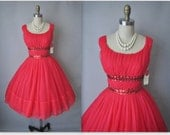50's Red Dress // Vintage 1950's Ruched Chiffon Shelf Bust Prom Wedding Party Dress NWT Deadstock XS