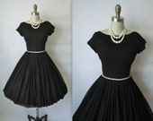 50's Cocktail Dress // Vintage 1950's Black Chiffon Rhinestone Full Cocktail Party Dress S