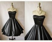 50's Cocktail Dress // Vintage 1950's Strapless Black Liquid Satin Full Cocktail Party Dress XS