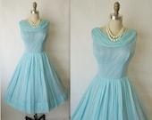 50's Chiffon Dress // Vintage 1950's Blue Chiffon Cocktail Party Prom Wedding Dress M