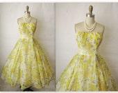 50's Chiffon Dress // Vintage 1950's Floral Print Chiffon Fred Perlberg Wedding Party Prom Dress XS