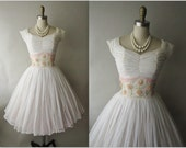 50's Chiffon Dress // Vintage 1950's Ruched White Chiffon Floral Applique Wedding Party Prom Dress Tea Gown XS S