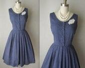 50's Polka-Dot Dress // Vintage 50's Navy Cotton Polka Dot Garden Party Summer Jumper Dress M
