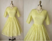50's Lace Dress // Vintage 1950's Lemon Yellow Lace Rhinestone Cocktail  Party Prom Dress XS