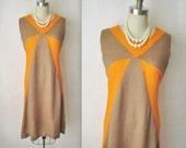 60's Colorblock Dress // Vintage 1960's Orange Mocha Tweed Mod A-Line Dress L