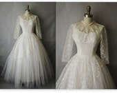 Reserved for Lorrie 50's Wedding Dress // Vintage 1950's White Tulle Lace Wedding Dress Gown XS