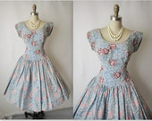 50's Flocked Dress // Vintage 1950's Flocked Organza Blue Ivory Floral Cocktail Party Prom Dress S