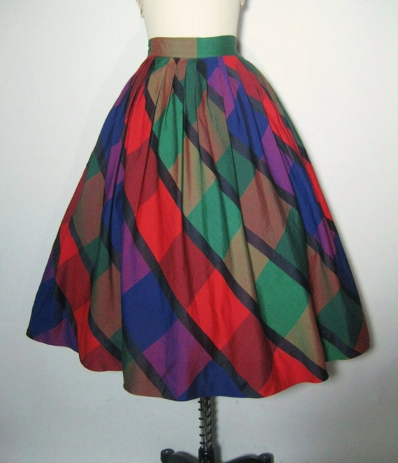 50's 60's Vibrant Pleated Mad Men Circle Skirt S