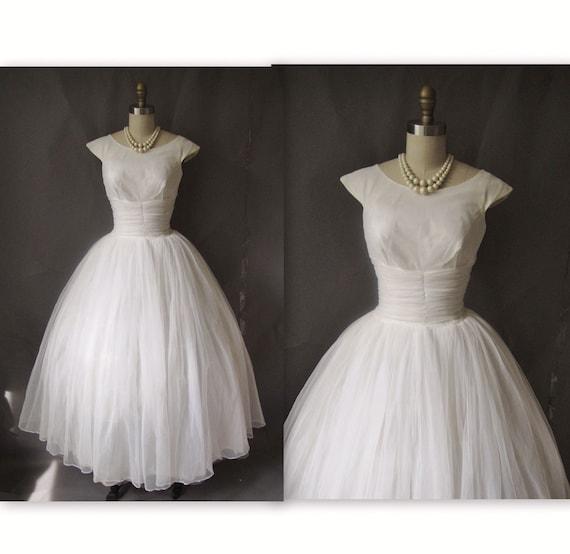 1950's Heavenly White Chiffon Wedding Party Dress Gown XS S
