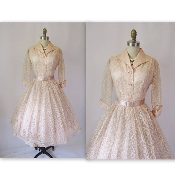 1950's Peach Lace Shirtwaist Full Cocktail Party Mad Men Dress L