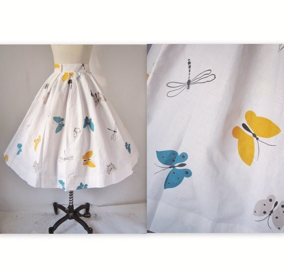 1950's Butterfly Novelty Print Cotton Garden Party Circle Skirt XS