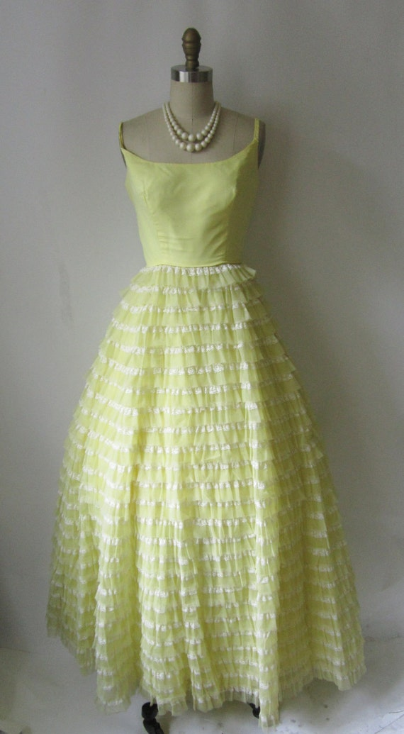 1960 S Lemon Chiffon Lace Southern Belle Party Prom Dress